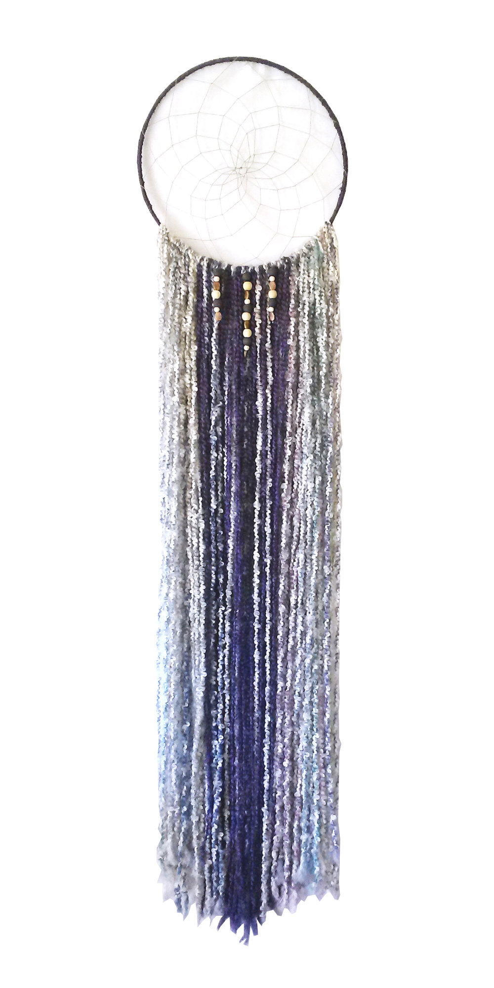 "Soft Whisper Dreamcatcher 14"" x 64"" Metal hoop, yarn, cord, beads Sold to private collector"