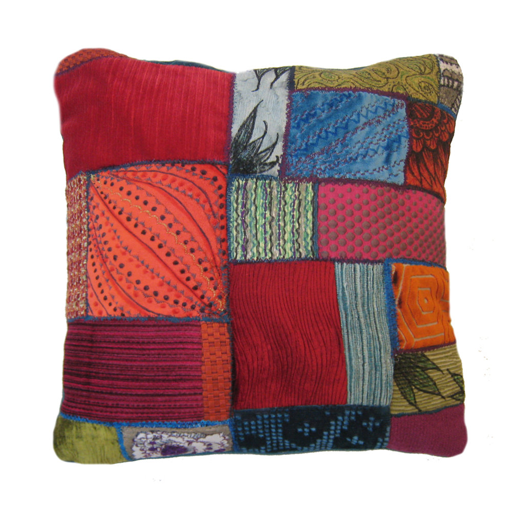 "Embellished Patchwork Pillow 18"" square Fabric, fabric paint, fabric marker, embroidery Sold to private collector"