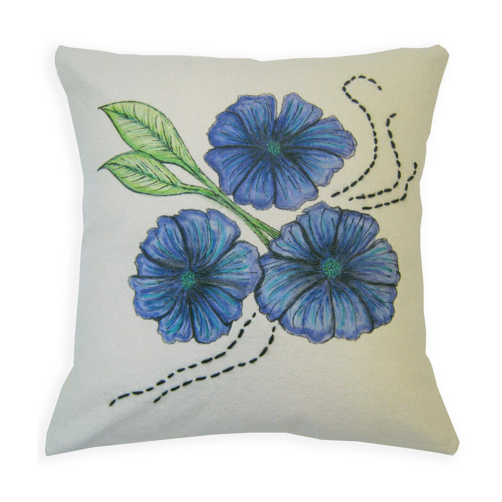 "Blossom Trio Pillow 15"" square Cotton canvas, Inktense pencils, fabric medium, fabric markers, yarn Sold to private collector"