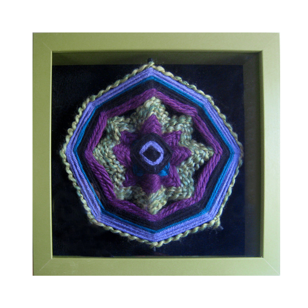 "Ojo de Dios of the Lavender Fields   10"" square Yarn, wood dowels, shadow box Sold to private collector"