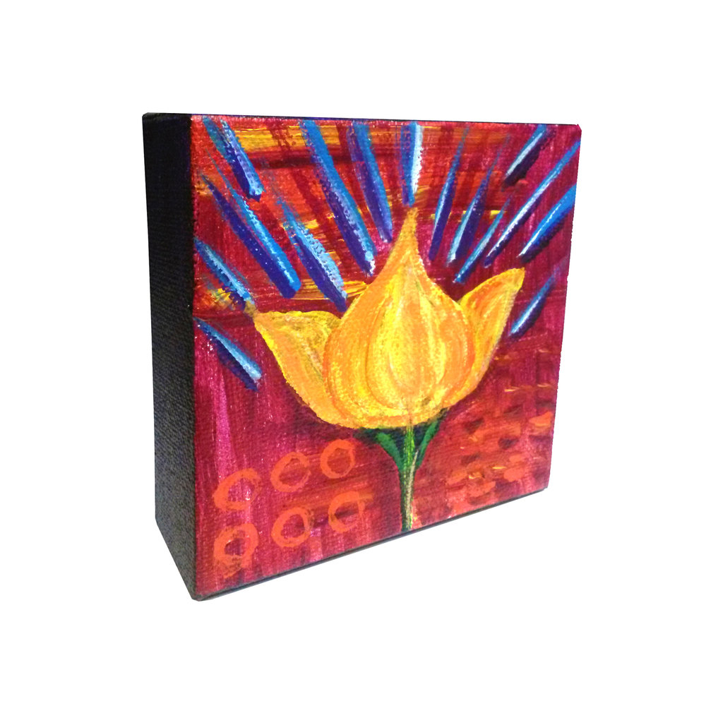 "Lotus Beams 4"" square Acrylic on canvas Sold to private collector"