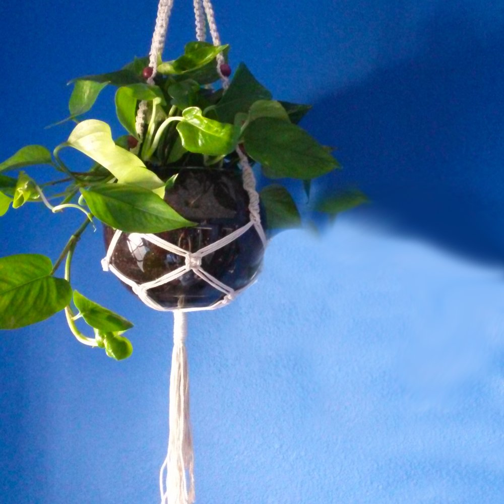Small Macrame Plant Hanger with Dark Pink Wood Beads.jpg