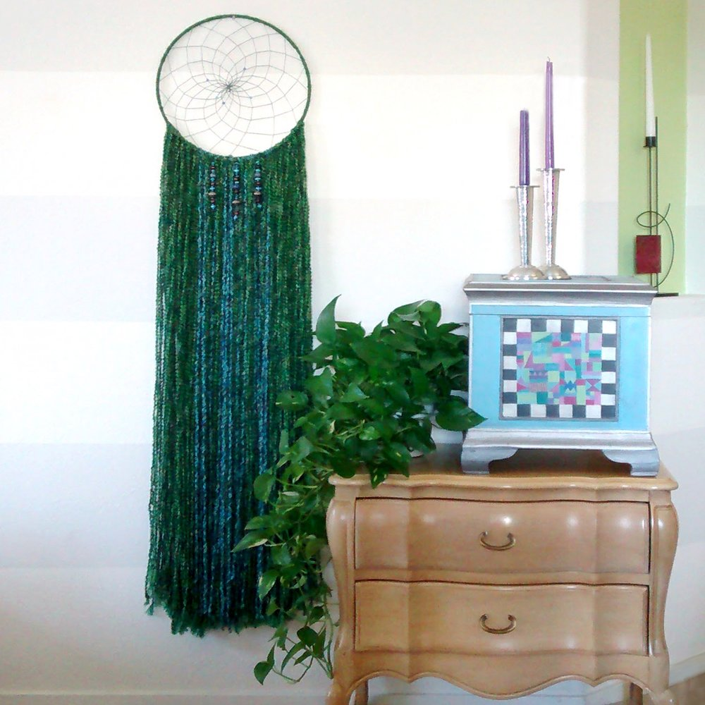 Rainforest Falls Dreamcatcher with painted box & plants & candles.jpg