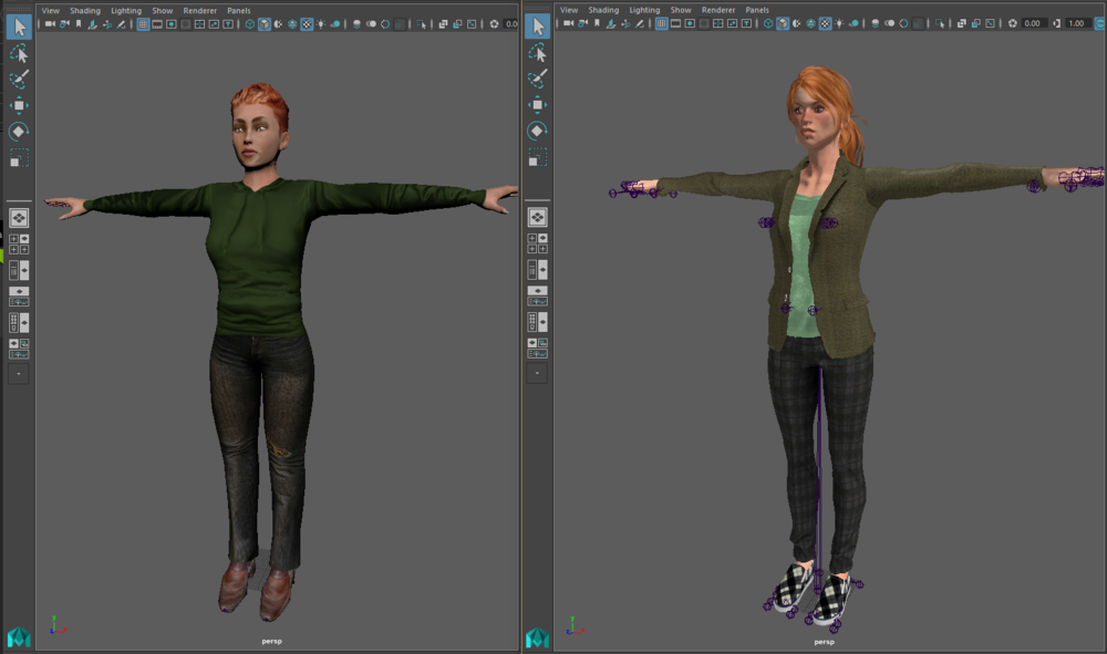 Same character created in Autodesk Character Generator on the left and iClone Character Creator on the right.