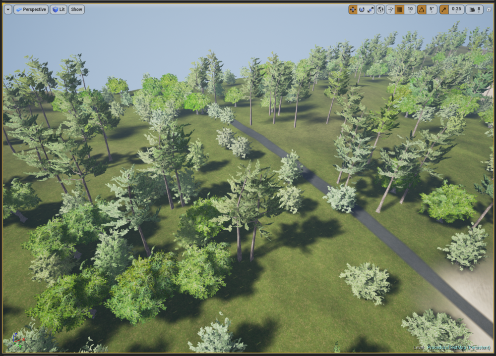 Procedural map of a wooded rural area with roads and trees