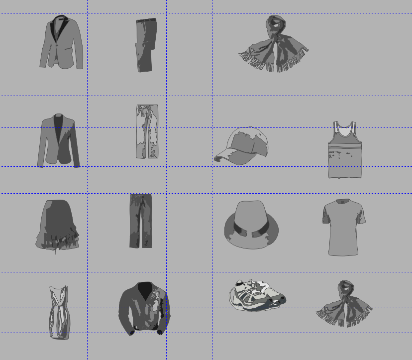 Old inventory icons in the graphic design program