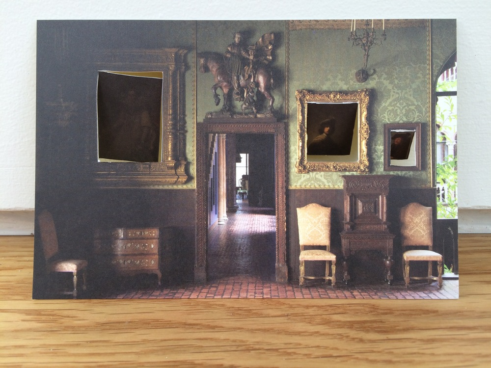 Missing at the Gardner, 2014, Altered postcard 6 x 4 inches