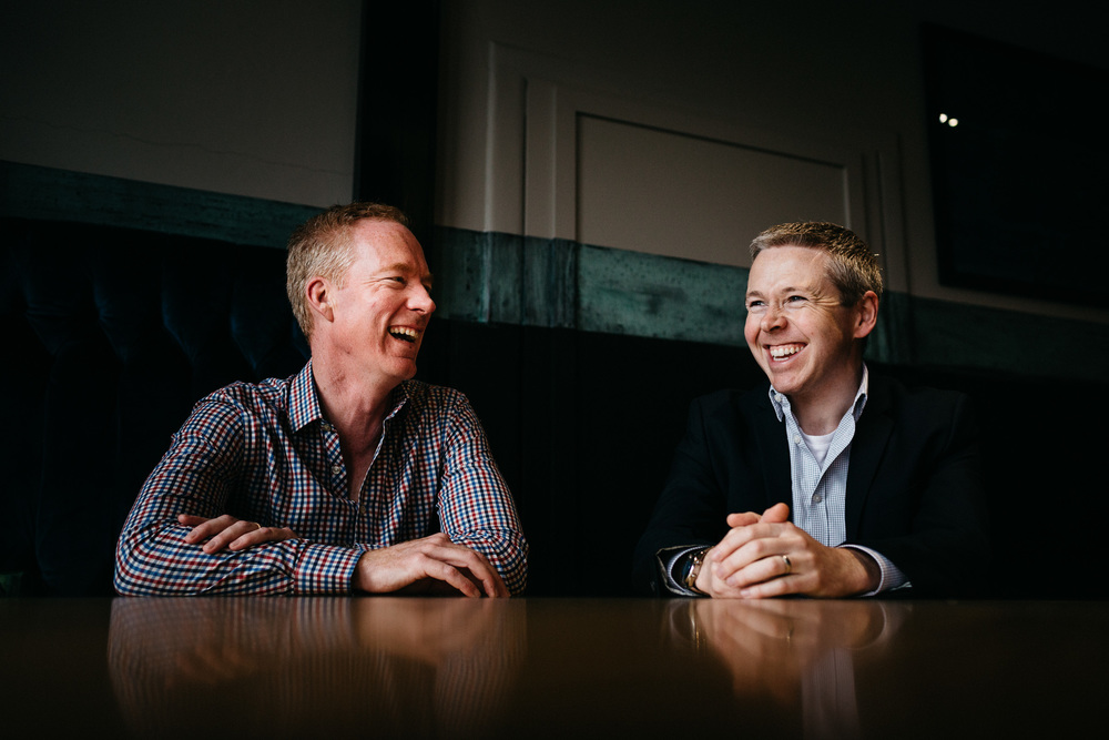 Warren Bebb (left) and Jason Wargent (right) say that having a similar sense of humour helps a lot when working in the stress-filled world of start-ups.