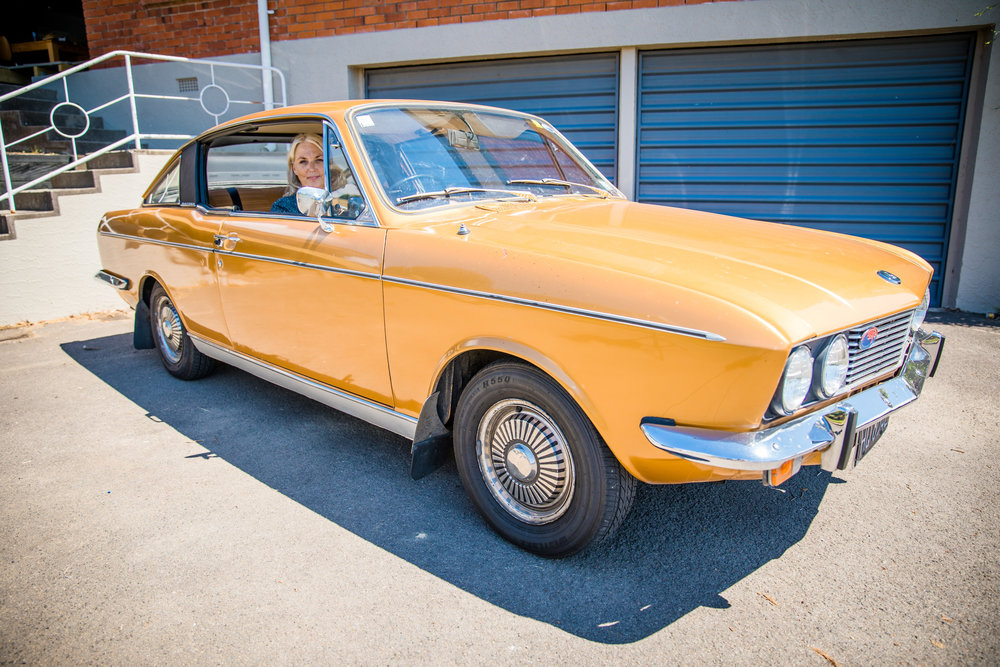 This is Amanda's 'baby' - a 1975 Sunbeam Rapier Fastback. She has wired in a new indicator stalk, put in new radiator hoses, and done some other work on her. She is possibly the youngest member of the Sunbeam Club!