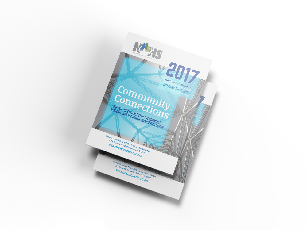Cover design for the 2017 National Organization for Human Services Conference booklet