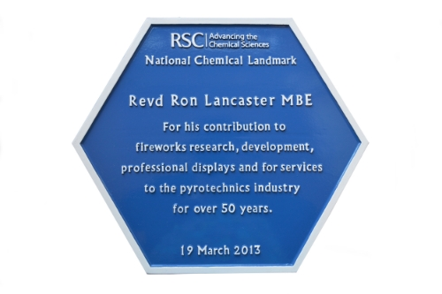 "In 2013, Ron Lancaster was awarded a coveted 'Blue Plaque' by the Royal Society of Chemistry in recogntion of his contribution as one of the elite group of 175 most influential chemists in the UK. Ron was also elected one of the ""100 leading practising scientists, 2014"""