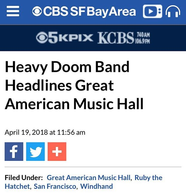 BREAKING NEWS: Our run with @rubythehatchet continues. Tonight we're at the @greatamericanmusichall in San Francisco, CA.