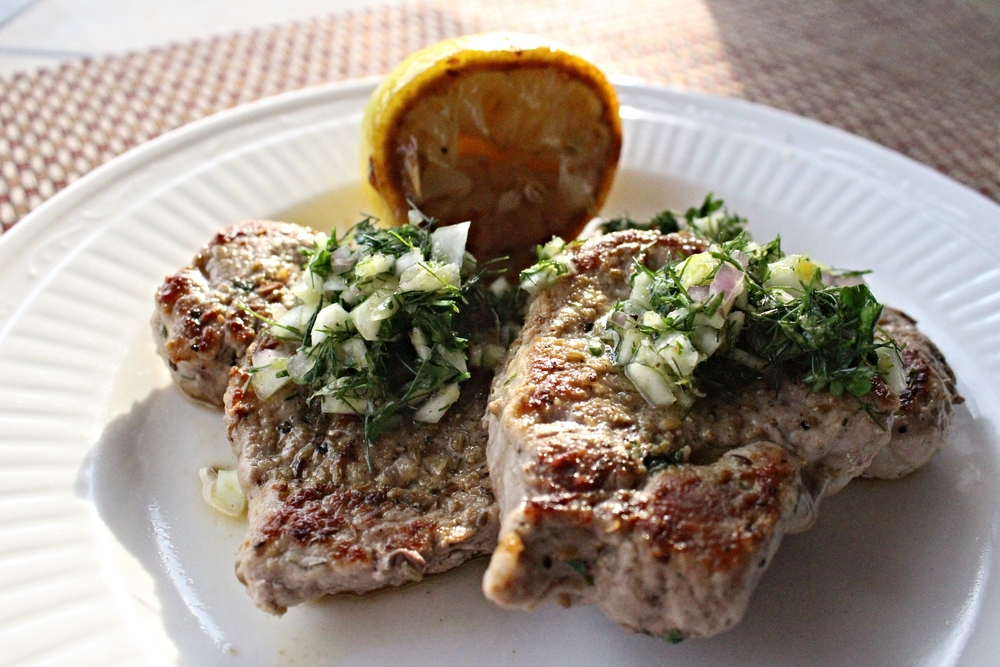 Pork Scaloppine with Fennel Salsa Verde — Cooking Up Delicious