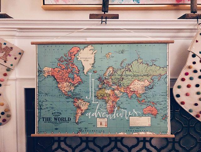 newlywed adventures await! . . . . . . . . #weddinggift #handlettering #moderncalligraphy #map #maps #ohtheplacesyoullgo #world #gift