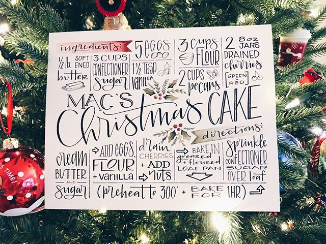 family recipes that withstand the test of time . . . . . . . . . #moderncalligraphy #handlettering #christmas #handmade #presents #holidays #happyholidays #merrychristmas #recipes #custom #typography