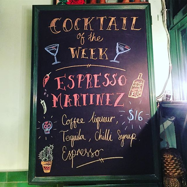 Need to kick start your week? Try an Espresso Martinez! With fresh espresso, coffee liqueur, tequila and a kick of fresh chilli syrup 🌶 Also we've got Happy Hour all night tonight! Happy Monday!! 🍹🍸🍻🍷 #happyhour #happyhourallnight #espressomartinez #espressomartini #cocktailoftheweek #eathouse #eathousediner #redfernbars #redfernlocal #sydneyhappyhour chalkboard art by @yuck_carrotcake