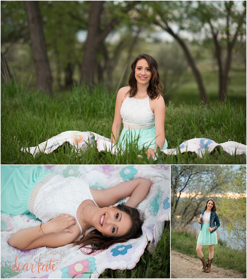 Fort Collins Senior Pictures vintage quilt country feminine dainty natural