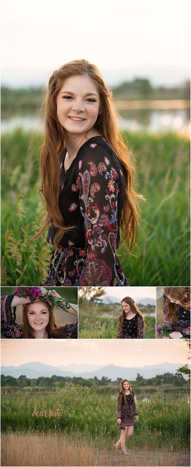 Senior pictures Loveland CO mountain views sunset and freckles