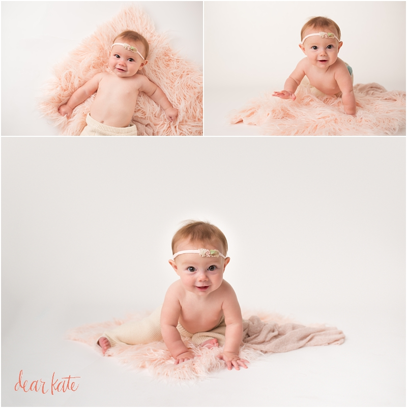 Sitting baby girl milestone pictures 6 month baby photographs