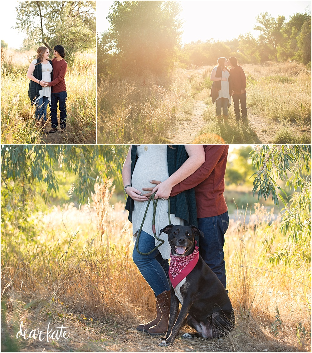 Outdoor maternity pictures in Fort Collins with dog and fall colors