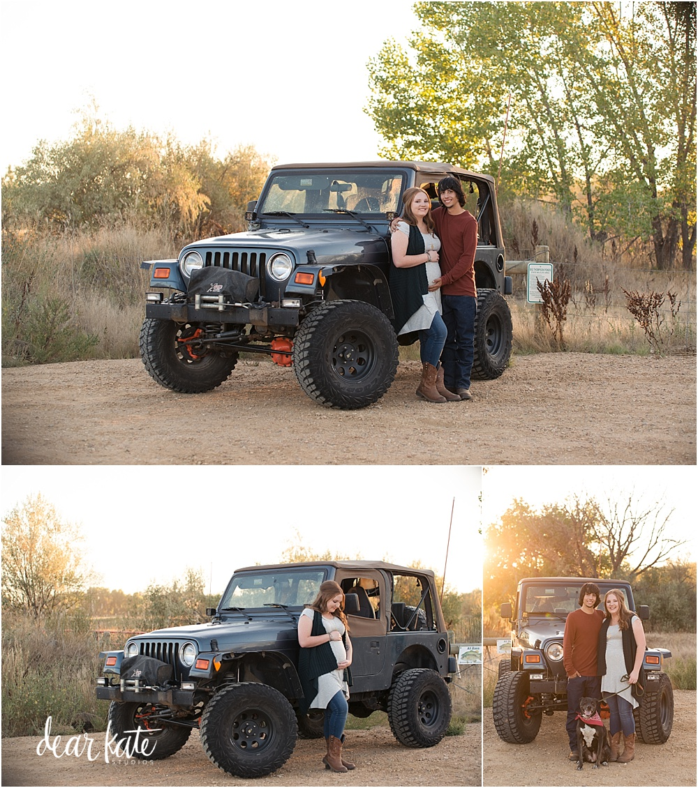 Jeep maternity pictures with dog in Fort Collins