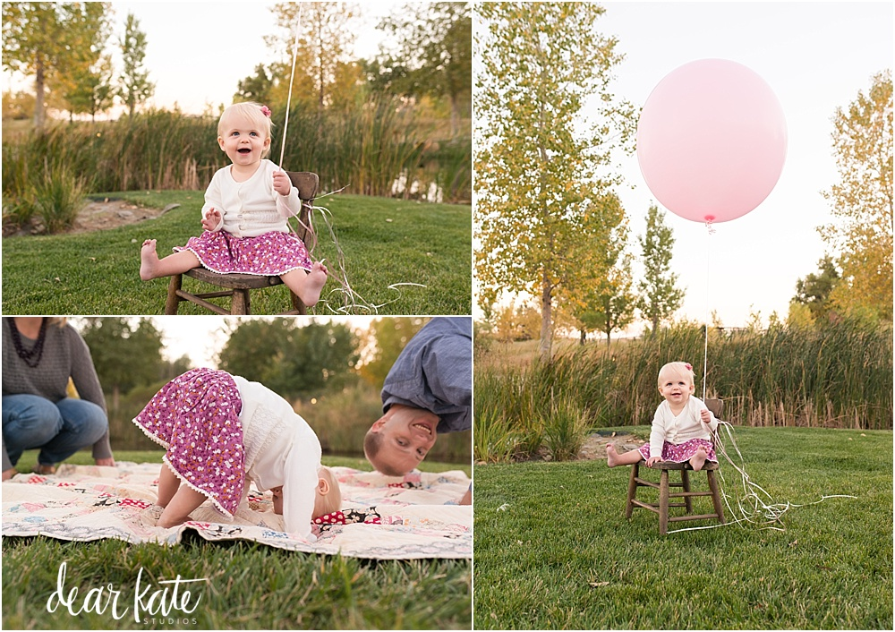 First birthday pictures fort collins outdoors with a big pink balloon
