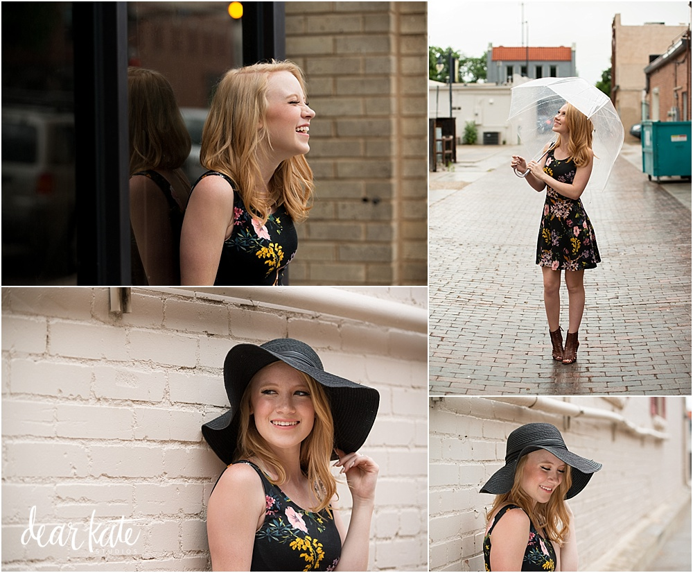 rainy senior pictures downtown loveland