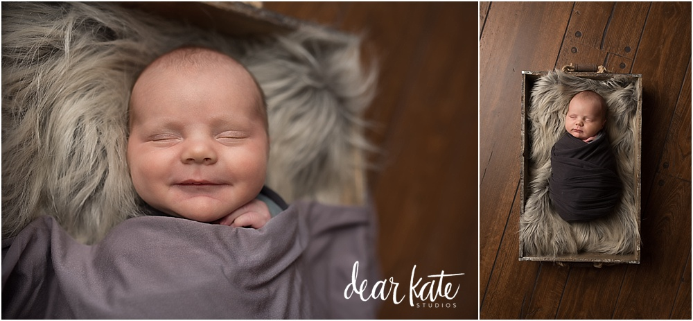 Baby smiles windsor colorado newborn pictures