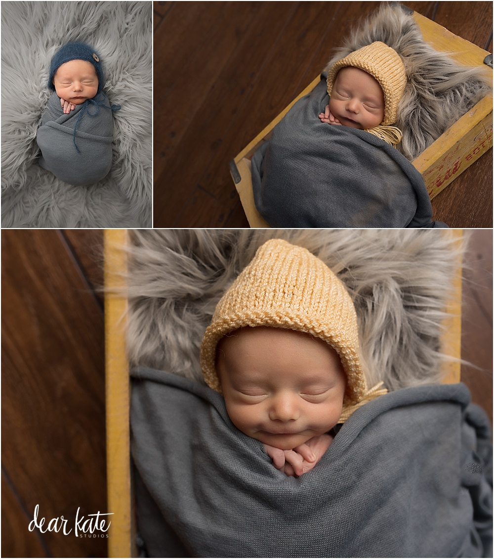 windsor newborn photographer in vintage coke box with yellow accents