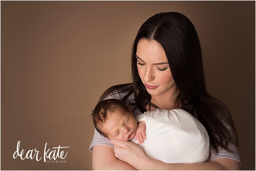 newborn baby boy with mother portrait photographer