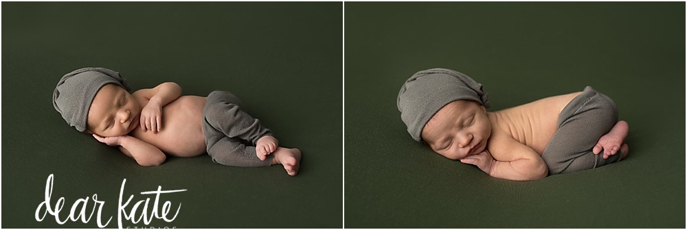 newborn baby boy on olive green with vintage style sleep cap