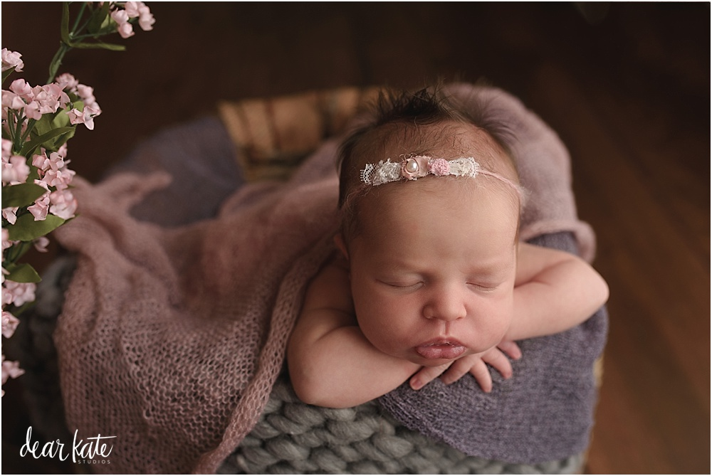 flowers with newborn baby girl in a bucket pink and gray northern colorado