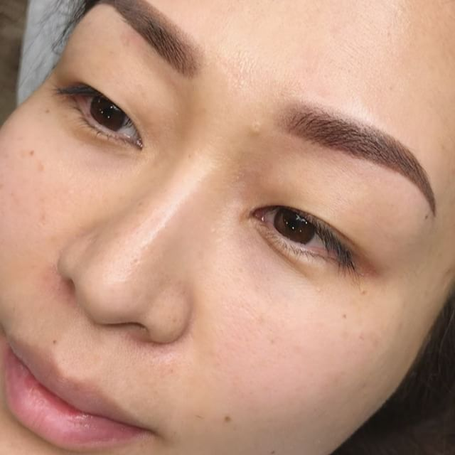 Immediately after powder brows vs. #microbladed almost 2 years ago  Just finished with these and super excited to share 🤗🙌🏻