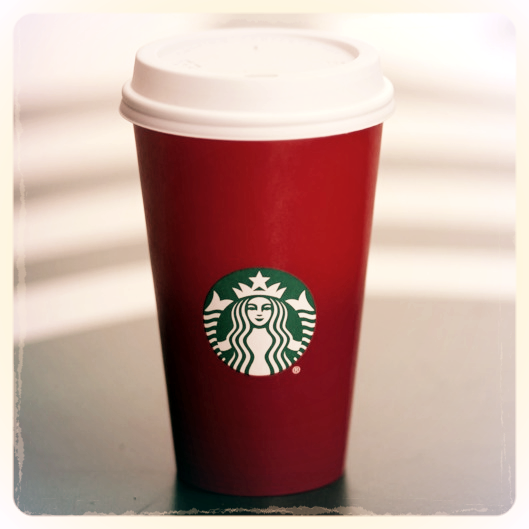 The 2015 Starbucks red cup. No mention of Christmas anywhere.