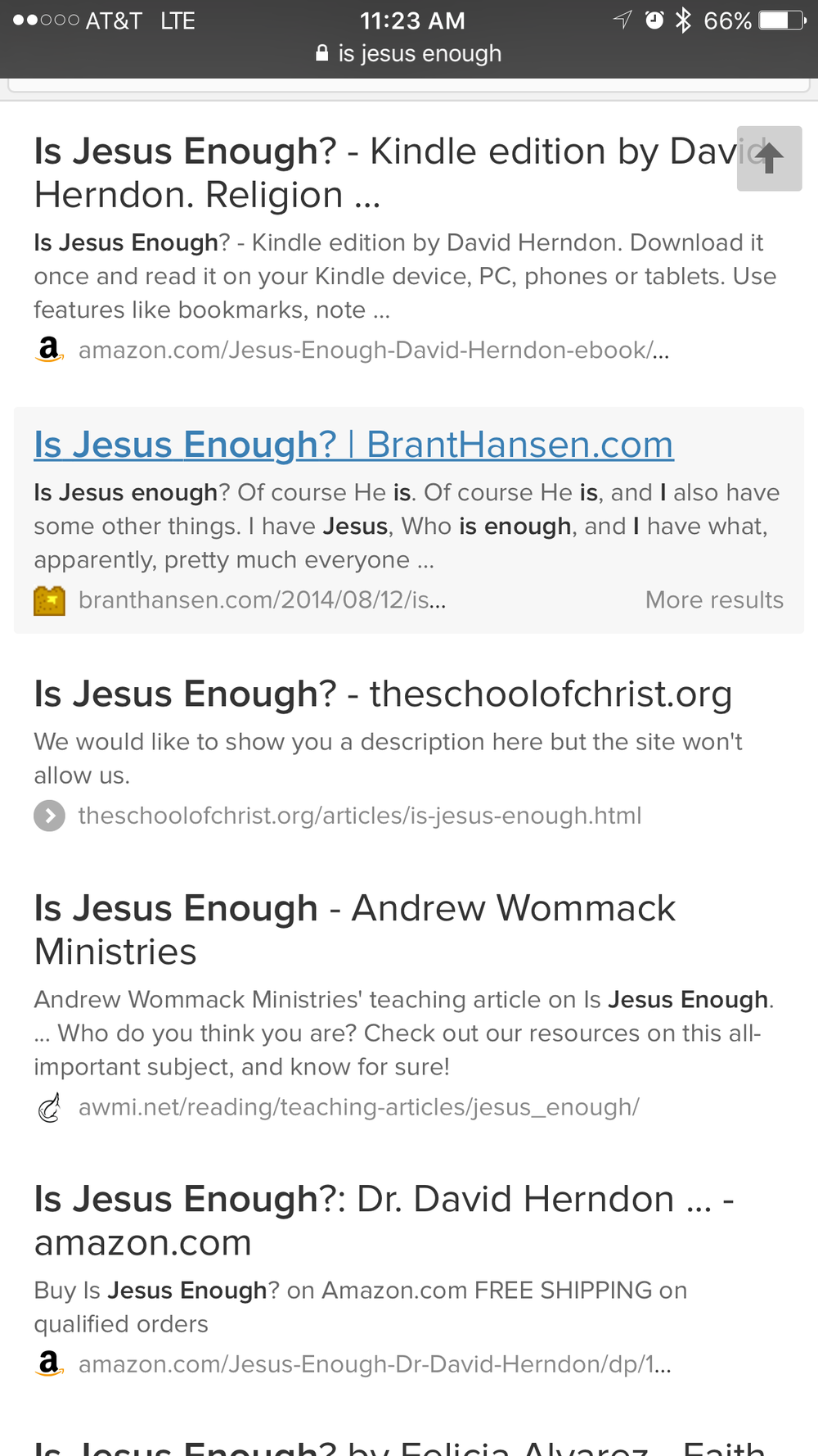 What Google told me when I asked if Jesus was enough.
