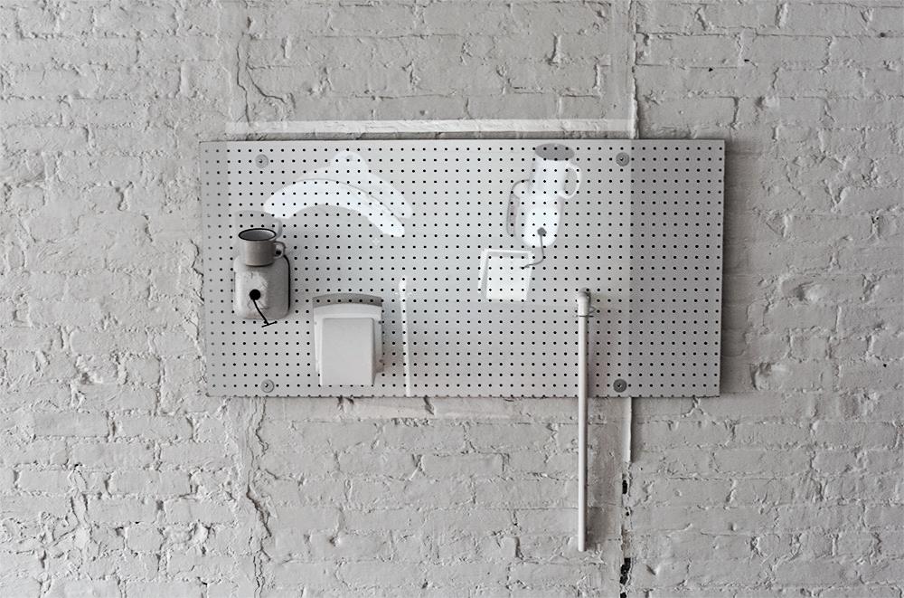 Joseph Lubitz  The Golden Faucet , 2015 Digital photo projection, pegboard, PVC, mug, pipe, faucet