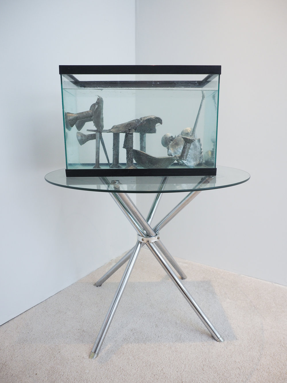 Crabs in the Tank (1-4)Agata Ingarden fish tank, water, sancasted horseshoe crabs,aluminium, copper