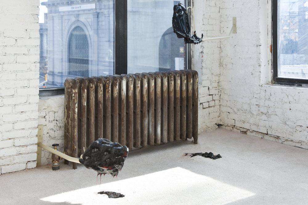 Heat Pipe,Agata Ingarden steel, copper wire, caramel, carpet