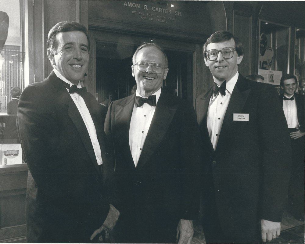 Early 1980's Davey O'Brien Natl College QB Awards Dinner Ft. Worth Tx Brent Musburger, Lamar Hunt, Thom Meredith.jpg