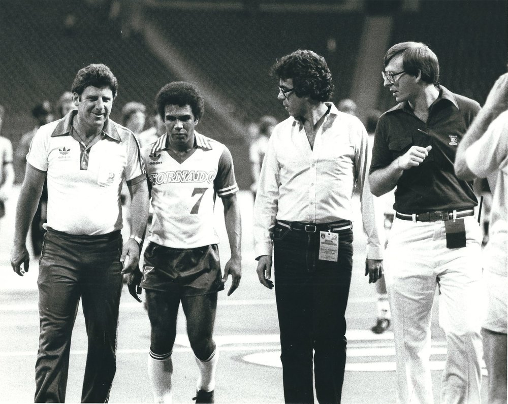 Post Game 1980 NASL Texas Stadium LtoR Coach Al Miller; Zequinha; Player Personnel Francisco Marcos, PR Director Thom Meredith.jpg