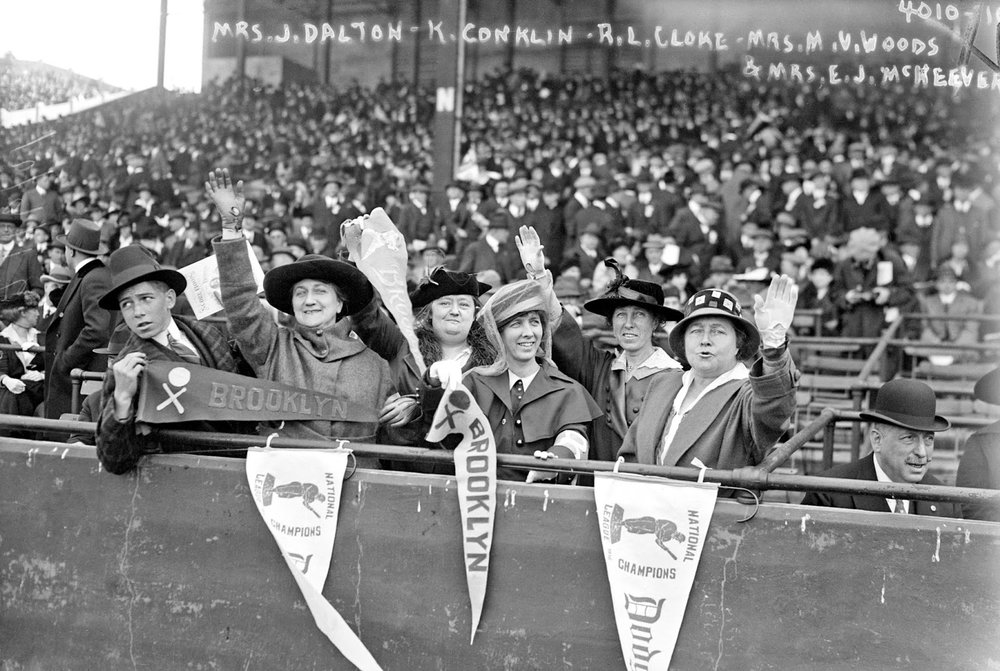 Brooklyn baseball fans at the 1916 World Series seated with Jennie Veronica Murphy McKeever, wife of one of the Brooklyn team's owners.jpg