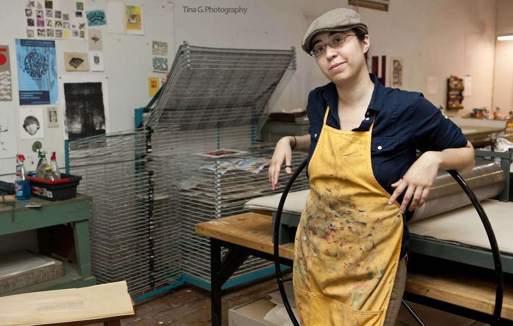 I had the pleasure of spending the afternoon at Platone Printmaking watching Megan Kelley work the printing press. Read the interview and learn more about her work!