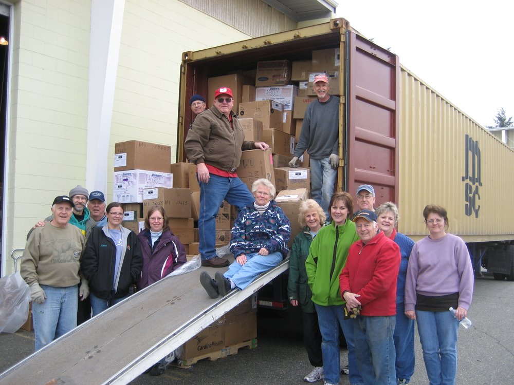 One of the many containers GMA Volunteers have prepared and shipped