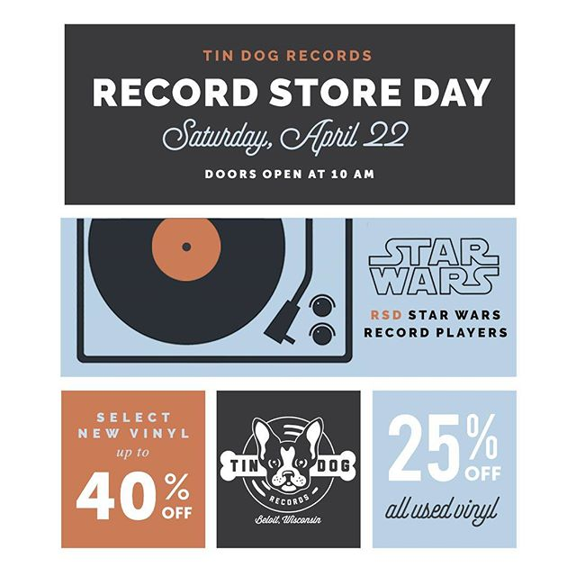 RSD 2017 is tomorrow! 4/22 And we will be opening at 10am. There will be tons of RSD releases in with all used vinyl 25% off and up to 40% off select new non RSD vinyl. We will also have a few of the RSD Star Wars record players in. We will have snacks and drinks all day long. So come on out and pick up some great music! #rsd2017 #rsd