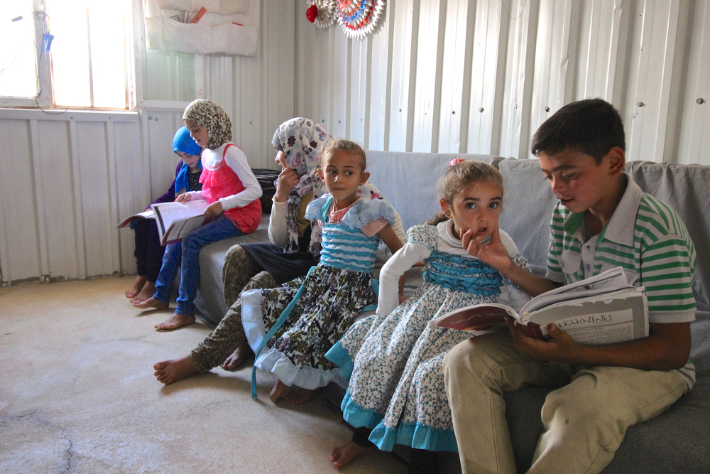 Children in Azraq refugee camp.