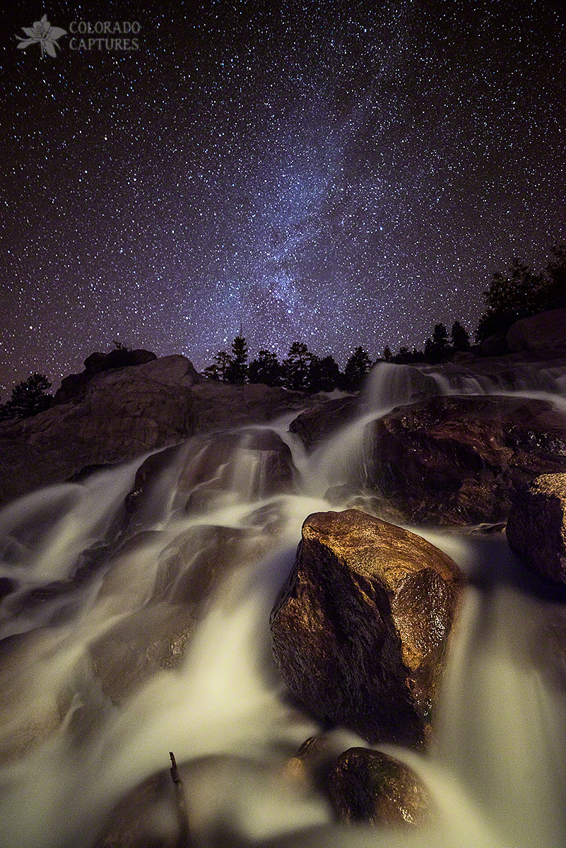 Starry Night Waterfalls In Rocky Mountain National Park