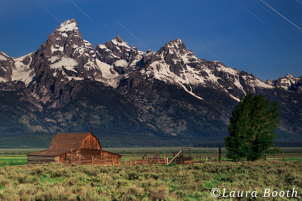 Star Trails over Grand Teton and Moulton Barn