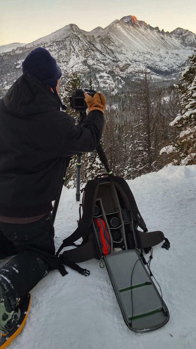 Mike tests the Backlight 26L on an evening hike in Rocky Mountain National Park, Colorado