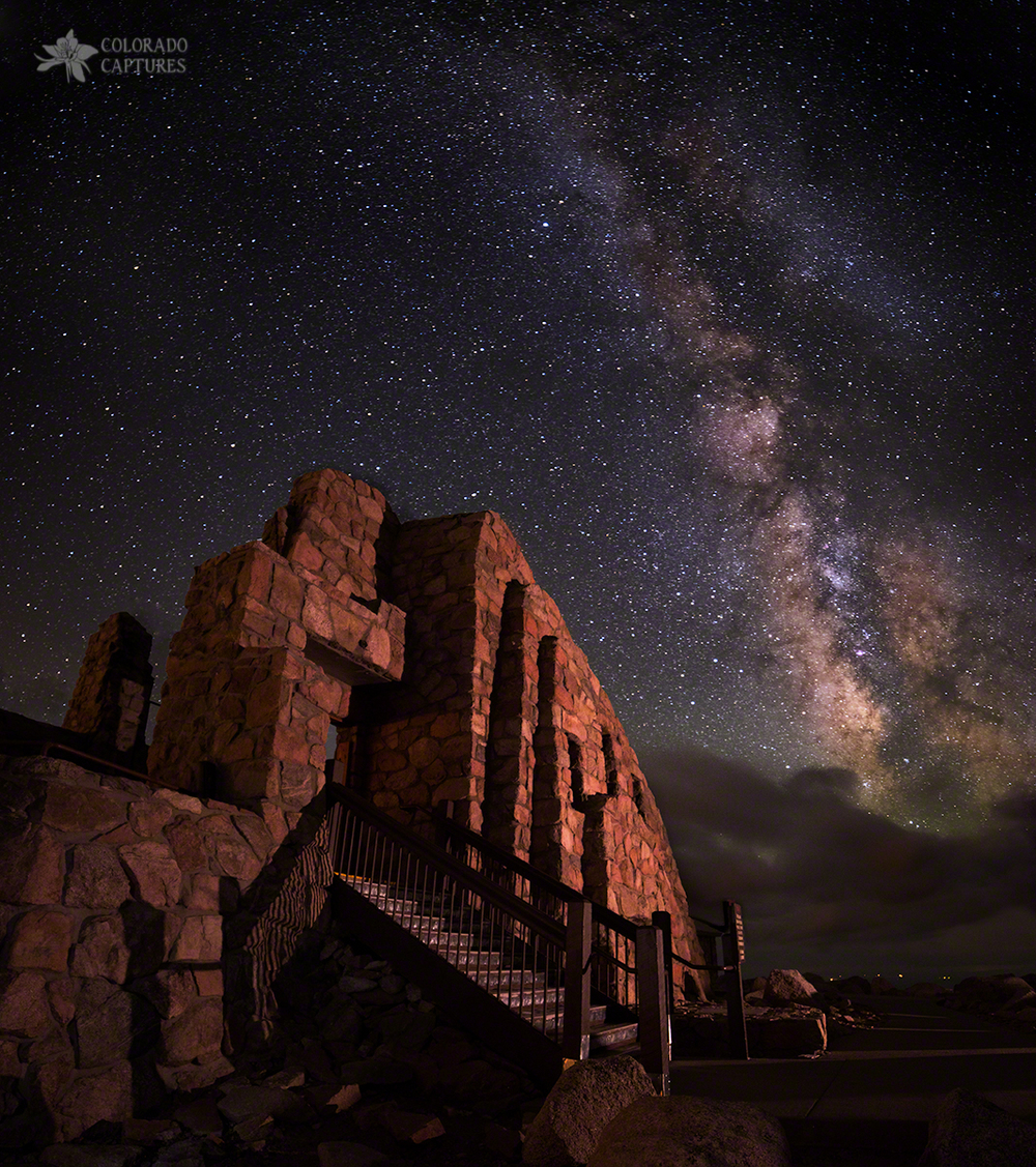 The Milky Way leans over the Crest House ruins on top of Mount Evans in Colorado (elevation 14,000 feet)