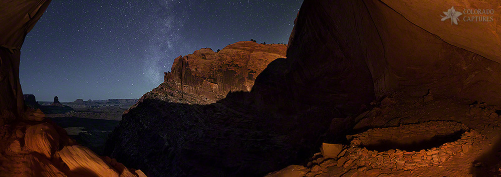 """Moonlit Milky Way Panorama From False Kiva"" - Canyonlands, Utah"